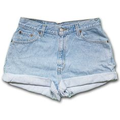 Vintage 90s Levi's light/medium Blue Wash High Waisted Rise Cut Offs... ($40) ❤ liked on Polyvore featuring shorts, bottoms, pants, short, black, women's clothing, black high waisted shorts, high waisted cut off shorts, high-waisted jean shorts and black denim shorts