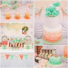 Vintage Peach and Mint Circus Party with lots of Really Cute Ideas via Kara's Party Ideas Kara Allen KarasPartyIdeas.com #vintagecircusparty...
