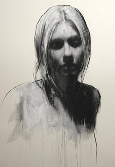 """""""Sam"""" - Mark Demsteader, pastel and collage {contemporary figurative #expressionist art beautiful female head woman face portrait mixed media drawing #loveart} markdemsteader.com"""
