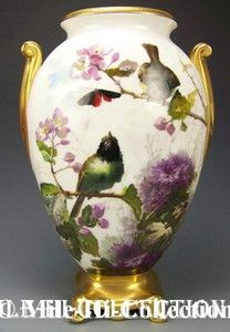 MASTER-PAINTING-SUPERB-LIMOGES-FRANCE-H-PAINTED-DAISY-BIRDS-BUTTERFLY-VASE