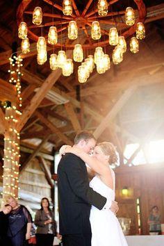 Wagon+Wheel+Wedding+Chandelier+for+Country+Barn+Wedding