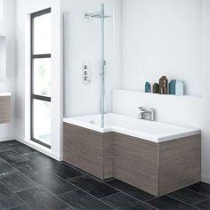 Brooklyn Grey Avola Shower Bath - 1700mm L Shaped Inc. Screen & MDF Panel