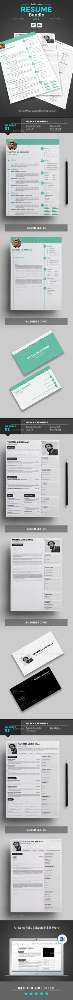 Clean Resume Template Bundle PSD Vector