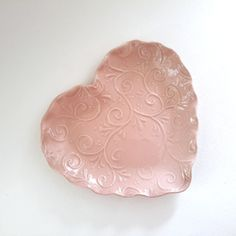 Ceramic Heart Plate  Heart Plate  PinkHeart Plate by kduddy on Etsy <3