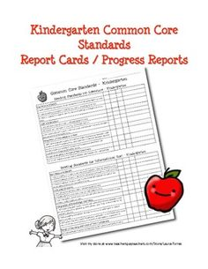 Kindergarten Common Core Progress Report / Report card. Easy chart format for tracking individual progres. $3.00