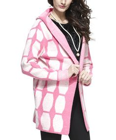 Look at this #zulilyfind! Fuchsia & White Hooded Open Jacket by Simply Couture #zulilyfinds