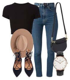 """Untitled #5358"" by laurenmboot ❤ liked on Polyvore featuring Yves Saint Laurent, Getting Back To Square One, Satya Twena, Aquazzura, Mulberry and Daniel Wellington"