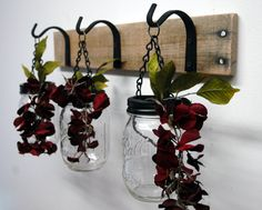 Hanging Mason Jar Wall Decor mounted to by PineknobsAndCrickets