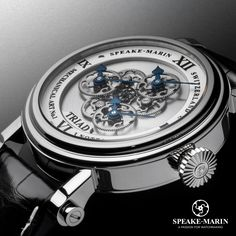 The Triad celebrates the mystical number three with triple hour-minute indications over a stunning open dial revealing a micro-mechanical ballet. www.speake-marin.com/cabinet-des-mysteres