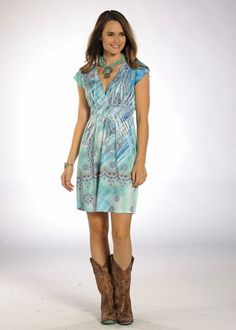 Turquoise Cap Sleeve Dress #country #dress