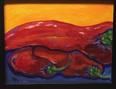 """""""Big Fat Lazy Peppers"""" Acrylic on Canvas board By C.Rodriguez Allen"""