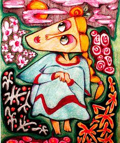 Whimsical Woman Art Green And Pink Girl's by AGirlAnOwlAndACat