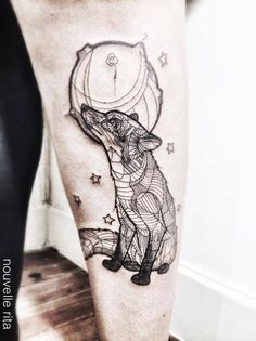 Fox and Moon Tattoo