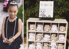 "Cutest idea ever! A ""Cat Adoption"" table at a Tiffany's themed party where little girls can name a cat of their choice and make a custom collar for them."