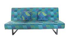 Sofá cama apertura clic clac con original estampado azul. Venta Flash