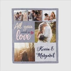 Are you searching for a romantic and emotional gift for your partner? Don't look beyond the amazing 'All You Need is Love' blanket, which provides you a unique way of preserving the memories of your time together with your partner. On the blanket, you can upload up to five photos.  #allyouneedislove #blanket #photos #collage #custom #personalized #partner #soulmate #gifts #ideas