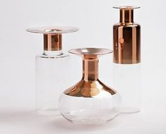 Tapio: Glass Vases with Copper Accents - Design Milk Bottle Design, Glass Design, Decorative Objects, Decorative Accessories, Charles Ray Eames, Diy Inspiration, Copper Accents, Vases, Vintage Design