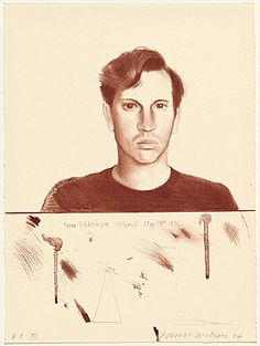David Hockney (British, born 1937) - Portrait of Peter Schlesinger, 1976. Lithograph in red-brown ink on Arches Cover white paper.
