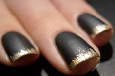 Use an opaque gold glitter polish to coat the very tip of the nail; then, making sure your brush is almost dry, drag it slightly down the nail to get that mismatched, distressed look. Don't use a topcoat so the nails will stay matte. #newyears #nails
