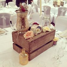 Vintage apple crates flowers chic ivory pearls vase Wedding Centrepiece Hire