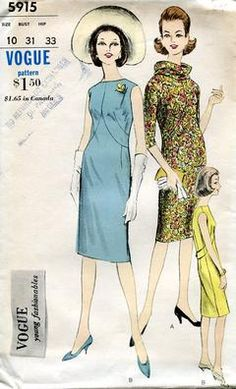 Sewing Patterns,Vintage,Out of Print,Retro,Vogue Simplicity McCall's,Over 7000 - Vogue 5915 Vintage Retro 1960s 60s Young Fashionables Dress Uncut Size 10