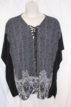74a9a2d1ec6 Michael Kors Womens Plus size 2X Black White Dolman Sleeve Neckline Blouse