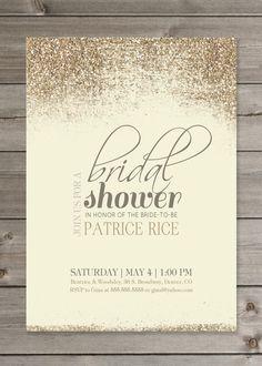 Bridal Shower Glitter Invitation PRINTABLE 5X7 Digital File. $12.00, via Etsy.