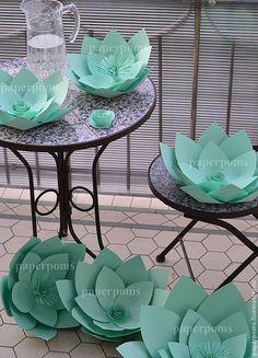 Купить Весенняя свежесть - мятный, бумажный декор, свадебное оформление, свадьба 2014, бумажные цветы