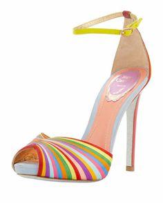 Multicolor Stripe Ankle-Wrap Sandal by Rene Caovilla