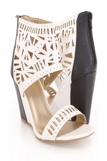 Black Perforated Sandal Wedges Faux Leather