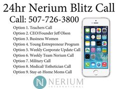 Nerium Blitz calls are very informative. Look in the list for what applies to you and make that call. You won't be sorry. http://www.tessaloves.arealbreakthrough.com