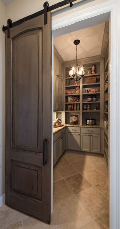Sliding barn door into spacious pantry