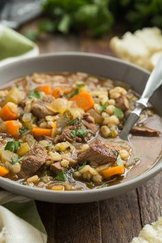 This Slow Cooker Beef Barley Soup is an easy crockpot meal perfect for fall or winter! Loaded with vegetables and tender chunks of beef, it's a healthy dinner idea that is great even for picky eaters. Includes step by step RECIPE VIDEO, so it's easy to follow along!
