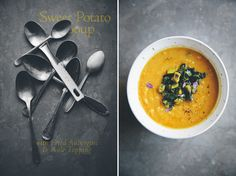 Sweet Potato & Red Lentil Soup with Aubergine & Kale Topping // Green Kitchen Stories