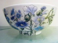 Andrea Sadek Vintage Floral Handpaint Large Centerpiece Bowl Morning Glory,Rose #AndreaSadek