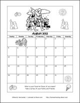 HOLIDAYS FOR EVERYDAY AND LINKS FOR THEM...GREAT FOR HOMESCHOOLING  August 2012 Printable Coloring Calendar