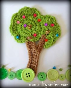Niftynnifer& Crochet & Crafts: Free Crochet Tree Motif Embellishment Pattern By Niftynnifer Crochet Ladybug, Crochet Tree, Crochet Daisy, Crochet Leaves, Cute Crochet, Crochet Crafts, Easy Crochet, Crochet Flowers, Crochet Projects