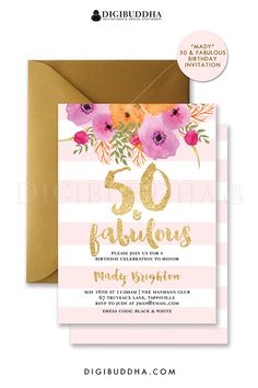 50   Fabulous Birthday Invitation Blush Pink Stripe Birthday Party Pink    Gold Glitter Look Modern Glam 50th 30th 21st Any Age Customized Invites -  Mady ... e60775c9b7d2d