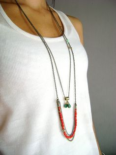 Multi layered set necklace turquoise gold red layering necklaces - multi strand…