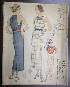Vtg 30s RARE McCall Glam Draped Halter Dress Jacket Pattern 8210 32 Bust | eBay