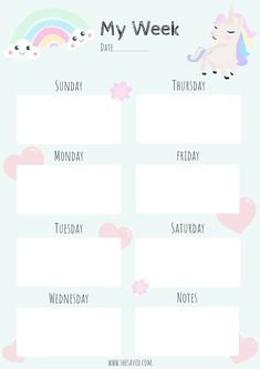 Happy planner printables - Get Organized! FREE Printable Unicorn Calendar Pages – Happy planner printables To Do Planner, Kids Planner, Planner Book, Happy Planner, Study Planner, College Planner, Free Planner, College Tips, Monthly Planner Printable