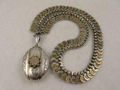 Exquisite Rare Victorian Tricolour Silver & 9ct Gold 'Daisy' Locket Collar Set - Full English Hallmarks