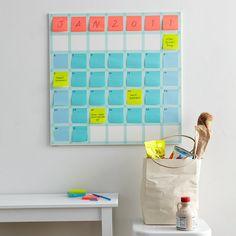 Big wall calendar using washi tape and post its