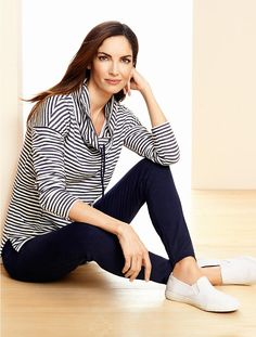 Talbots - Textured-Stripe Cowlneck Top | T by Talbots | In Plus Sizes!