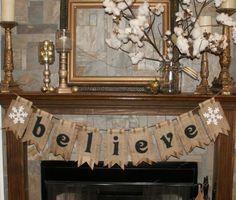 I could do this!  Christmas Banner- Burlap & Black Webbing Pennants- Holiday. $53.00, via Etsy.