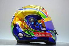 Felipe Massa's helmet from the 2011 Brazilian GP Chopper Helmets, Cool Bike Helmets, Racing Helmets, Motorcycle Helmets, Gp Formula, Biker Accessories, Helmet Paint, Custom Helmets, Custom Paint Jobs