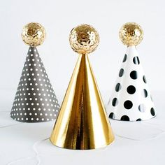 Sequin ball party hats for a little shine and fun at your next New Year's party!