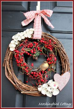 DIY: Valentine Wreath- I would use two birds and different ribbon and flowers