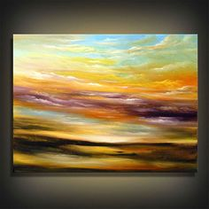 Abstract Acrylic Paintings | Original abstract painting art sky blue yellow earth tones sunset ...