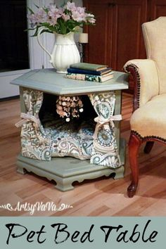 to Make a Posh Pet Bed I've seen several of these at Goodwill over the years. Next time, I'm buying it. Repurposed Side Table To Posh Pet Bed Dog Furniture, Repurposed Furniture, Furniture Makeover, Painted Furniture, Furniture Companies, Furniture Ideas, Diy Dog Bed, Diy Bed, Pet Beds Diy